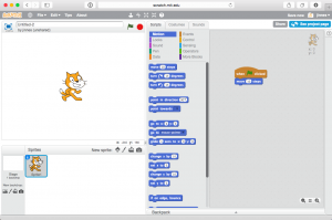 The Scratch programming environment is highly visual